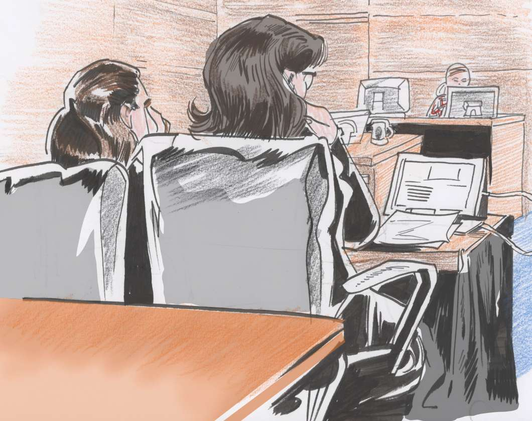 Noor Salman (left) with her attorney. Sketch courtesy Charles Treadwell