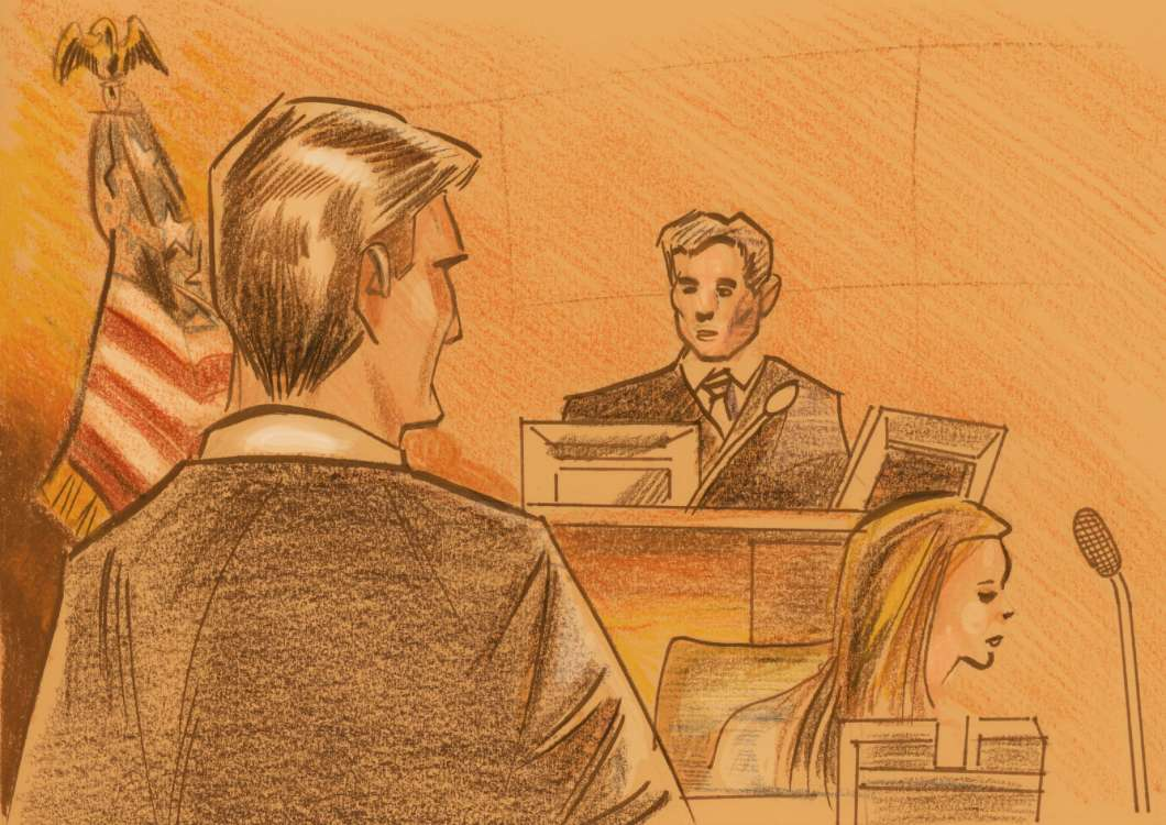 Prosecutor Rodger Handberg and U.S. District Judge Paul Byron. Sketch: Charles Treadwell