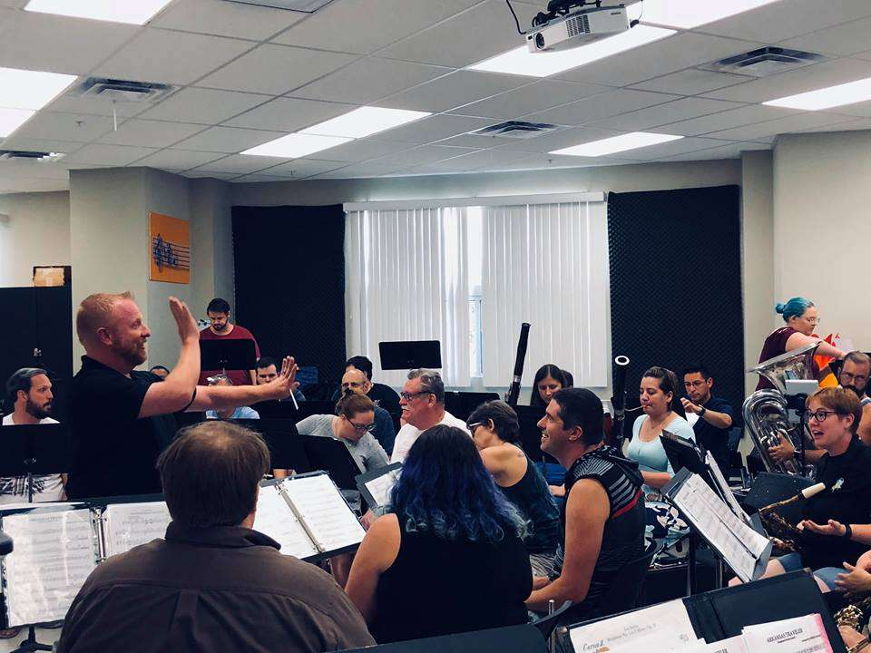 Rehearsal of Central Florida Sounds of Freedom Band & Color Guard, led by Chris Green, artistic director.