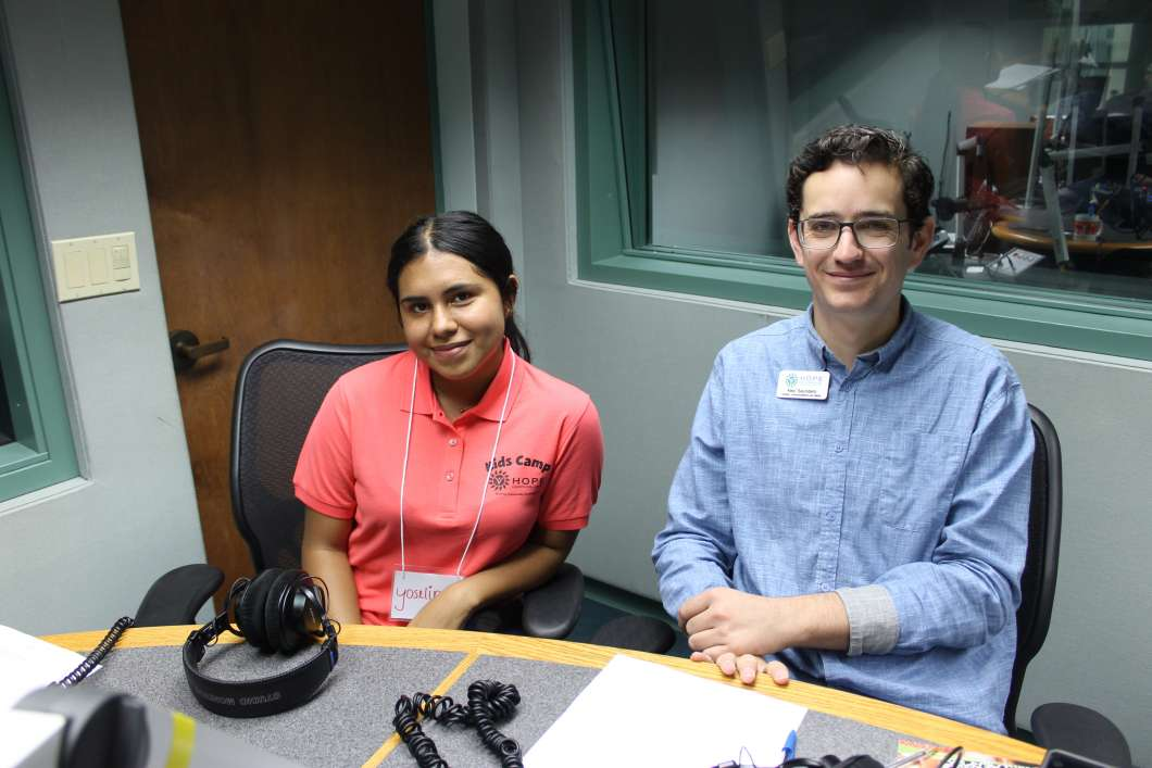 Yoseline Rodriguez (left) is going into her fourth year as a camp counselor and Alex Saunders (right) works as the Director of Communications for Hope CommUnity Center.    Photo: Matthew Peddie, WMFE