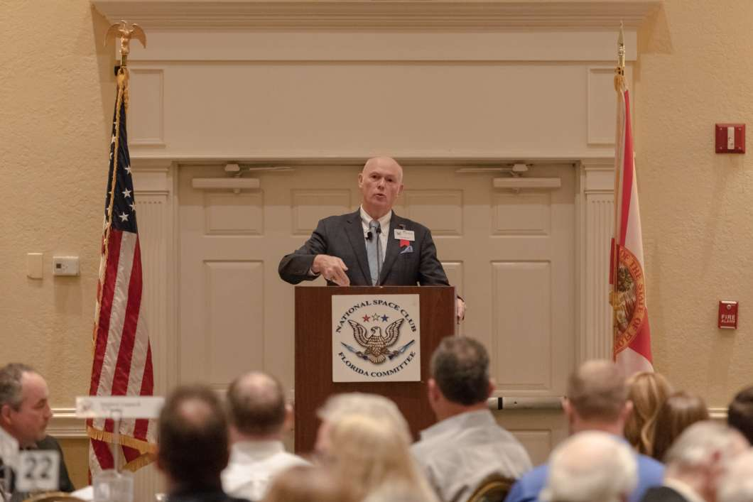 United Launch Alliance CEO Tory Bruno speaks at the National Space Club Florida. Photo: Michael Seeley / We Report Space