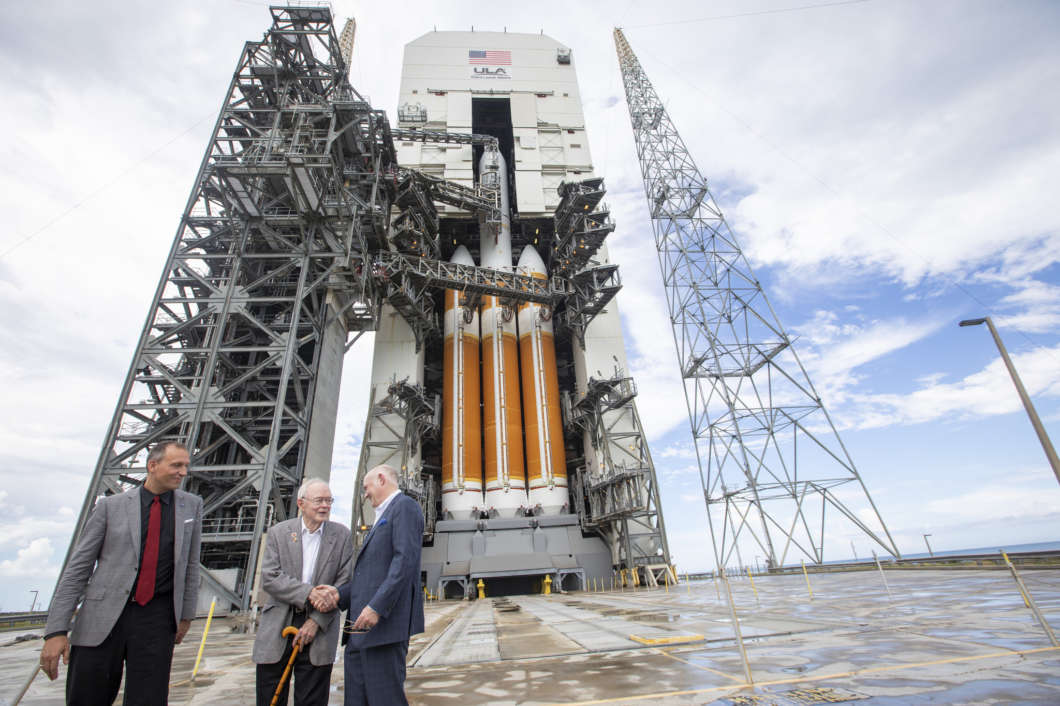ULA's Tory Bruno (right) had the honor to host Dr. Eugene Parker (center), heliophysics pioneer, and Dr Thomas Zurbuchen (left), NASA associate administrator of the Science Mission Directorate, on the launch pad to see the rocket that will launch Parker #SolarProbe on its way to the sun. Photo: United Launch Alliance