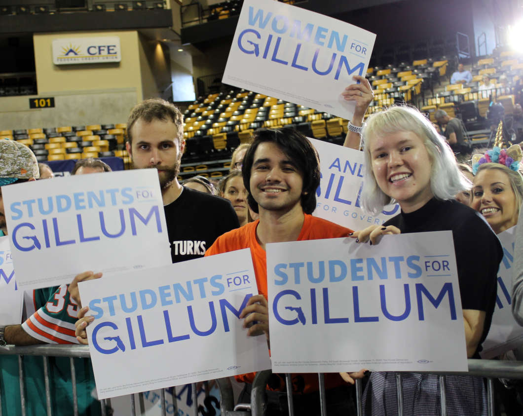 Students attend OMG WTF rally for Democratic gubernatorial candidate Andrew Gillum on Oct. 31, 2018. Photo by Shanya Richburg