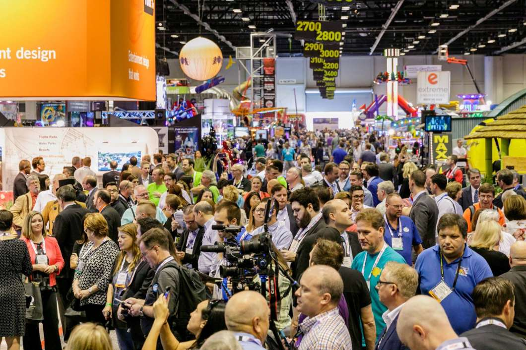Attendees pack the trade show floor at the 2017 IAAPA Expo in Orlando. Photo: IAAPA / Facebook