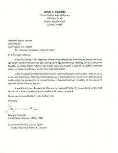 Letter from lawyer for clemency for Leonard Peltier