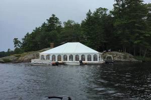 Wedding tent set up over dock