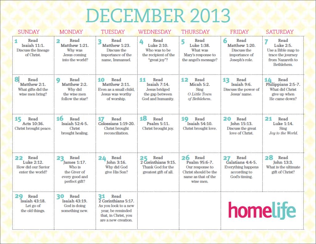 December 2013 Family Time Calendar
