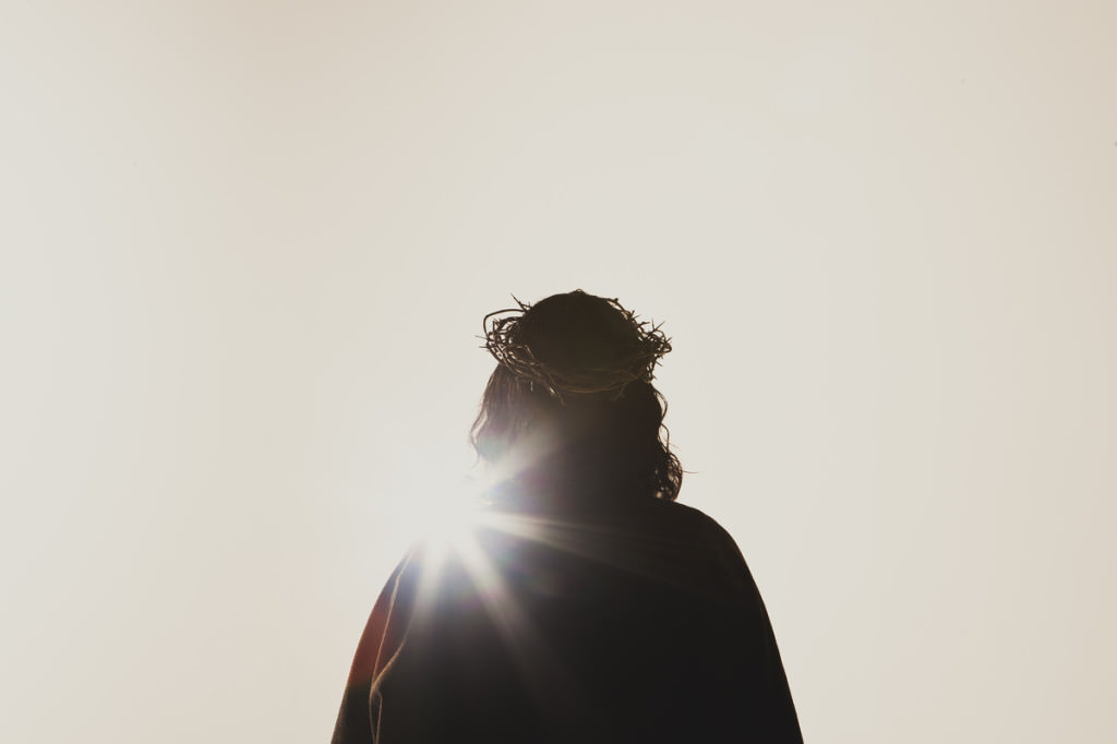 Stock photo of the back of Jesus