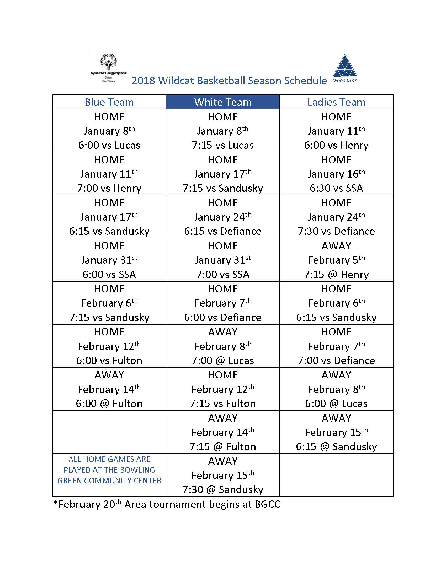 2018 So Basketball Season Schedule Page 1