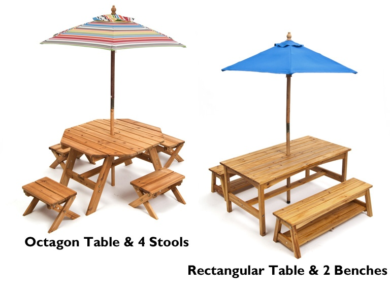 kidkraft wood outdoor table u0026 chairs with umbrella kidswoot kids u0026 toys - Garden Furniture Kids