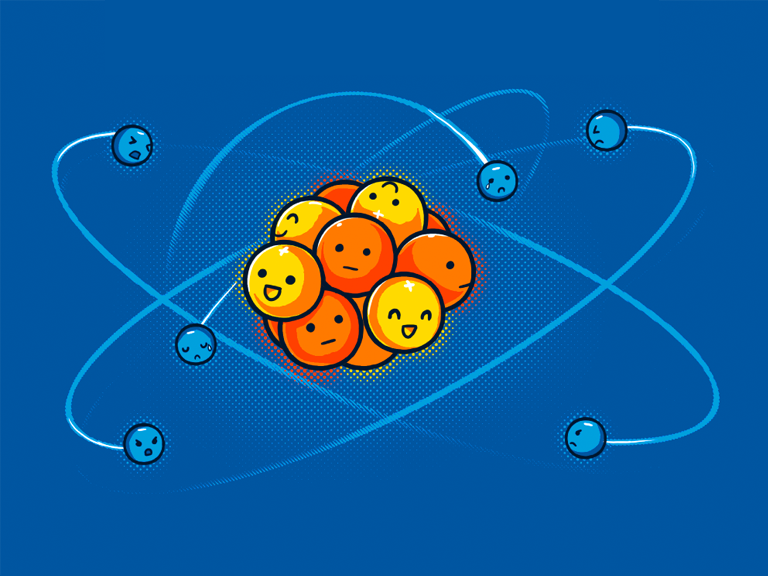 Of all the pictures of carbon I could find on the interwebs, this was my favourite - the electrons are negative, the neutrons are indifferent, and the protons are super happy. Hilarious. Image source: http://shirt.woot.com/blog/post/orbital-model-of-the-carbon-atom