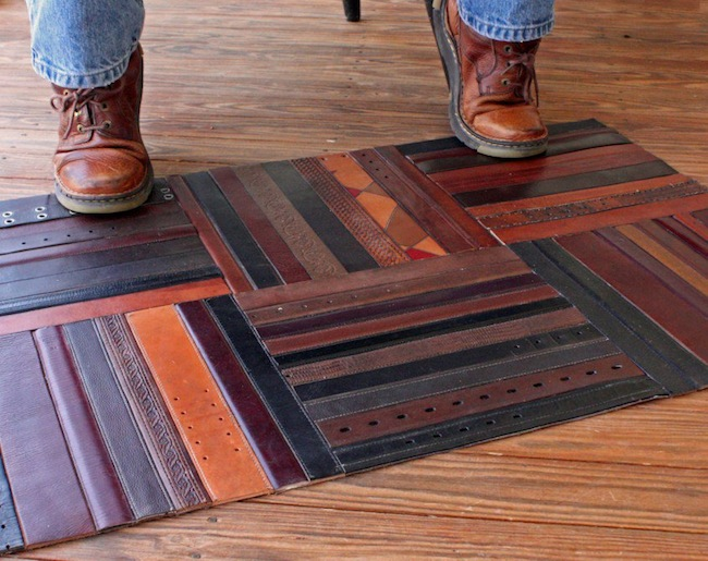 Reuse Leather Belts - Rug
