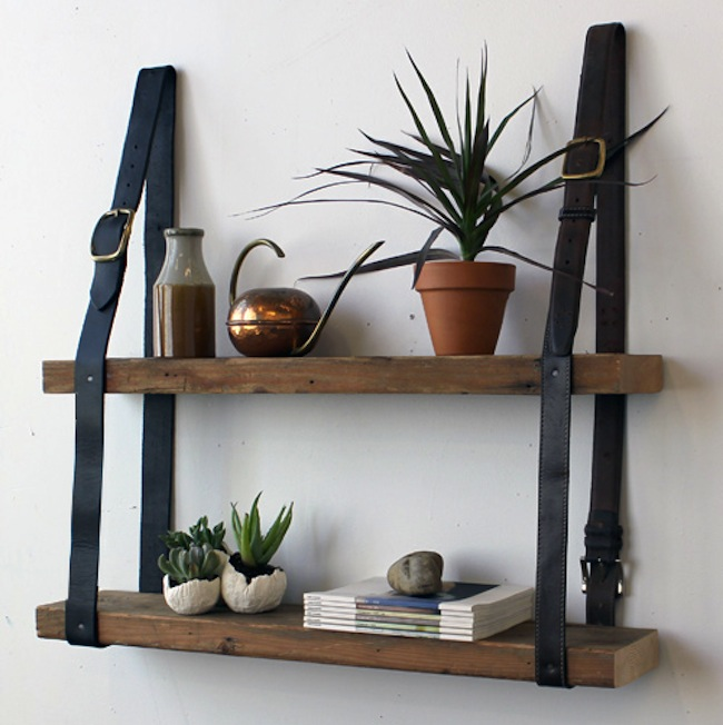 Reuse Leather Belts - Shelving Unit
