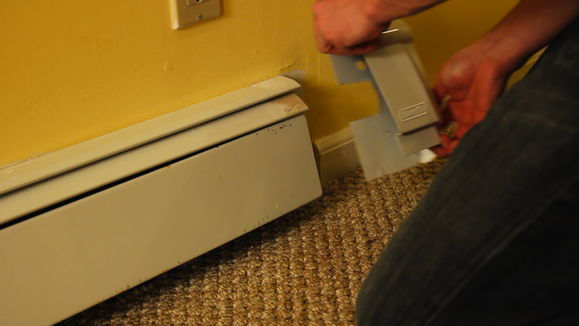 DIY Baseboard Heater Covers - Before
