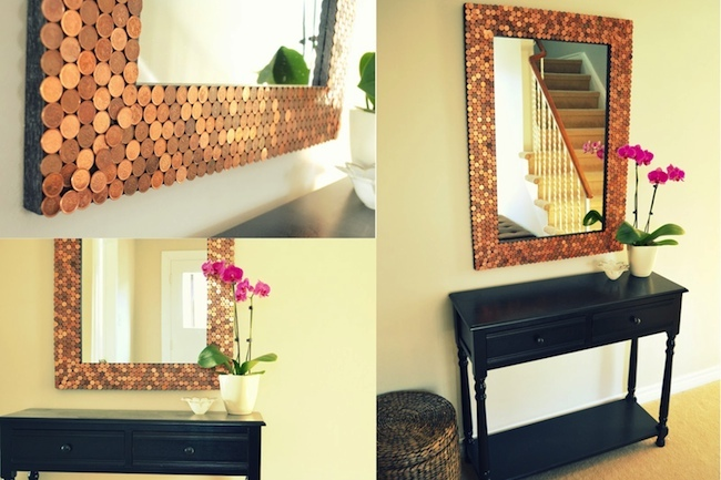 DIY Mirror Projects - Pennies