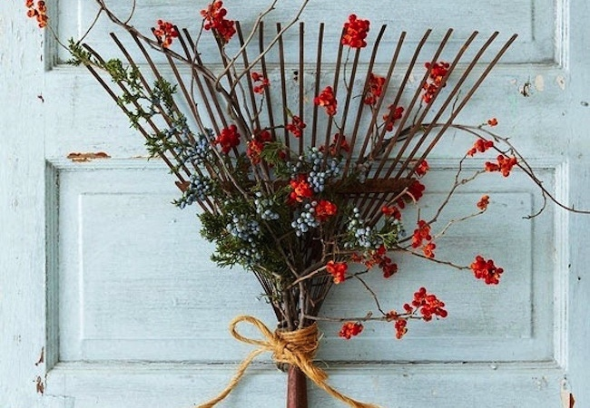 Repurposed Rake Projects - Wreaths