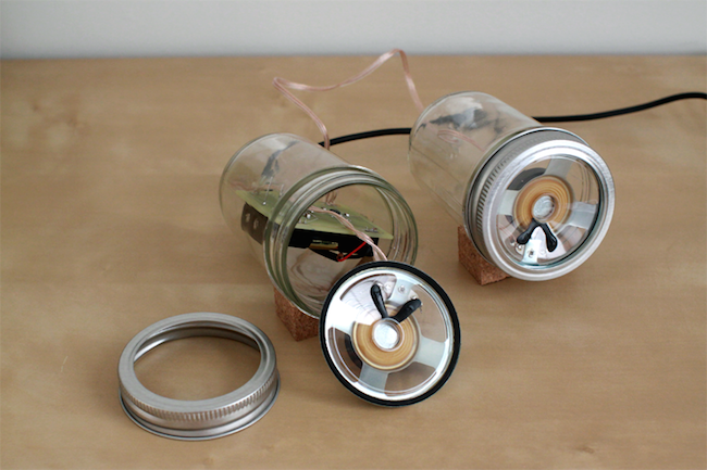 DIY Mason Jar Speaker Set - Inside