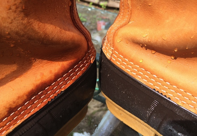 differences between leather boots treated with neverwet