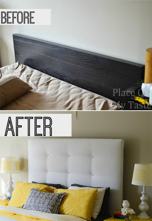 Before and After IKEA Hack DIY Headboard