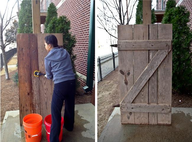 DIY Barn Headboard Cleaning