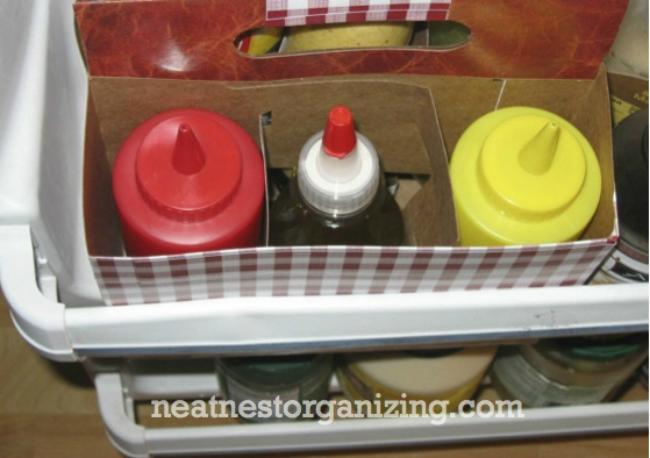 Refrigerator Organization - DIY Condiment Caddy