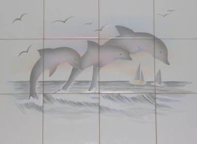 Brilliant Dolphin Art On Tile Murals  Thomas Deir Honolulu HI Artist