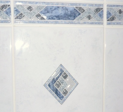 Decorative Tile - Marble-patterned ceramic tiles with decorative mosaic insets and border