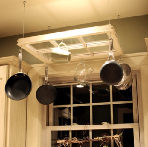 Creative Kitchen Storage Ideas - Upcycled Window Pot Rack