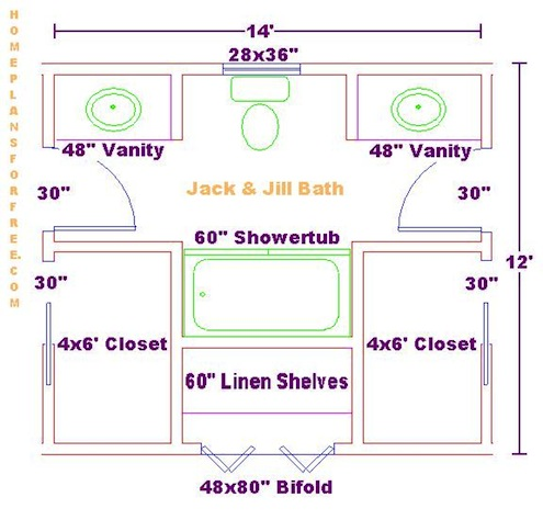 Sample 8 39 X 13 39 Jack Jill Bathroom Floor Plan Courtesy Of