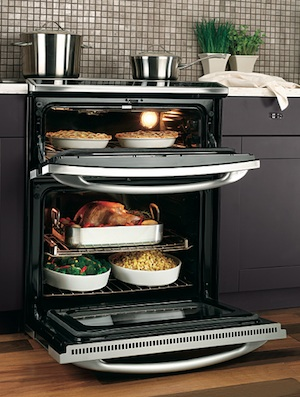 GE Profile Slide-in Double Oven Open