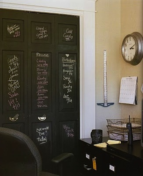 Tracys-trinkets-treasures.blogspot-chalkboard-painted-closetdoors