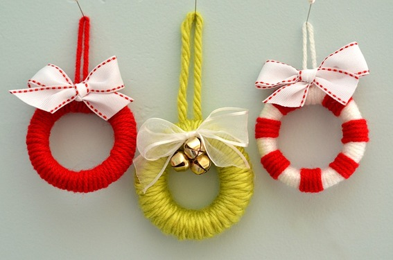 DIY Yarn Ornaments