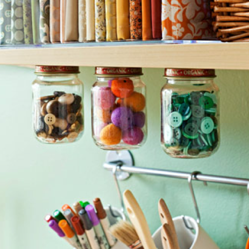 DIY Organization Ideas - Glass Jars
