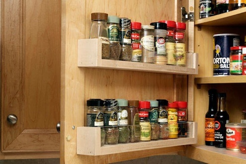 Cabinet Door-Mounted Spice Rack
