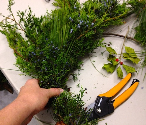 How to Make a Wreath - Adding Greenery