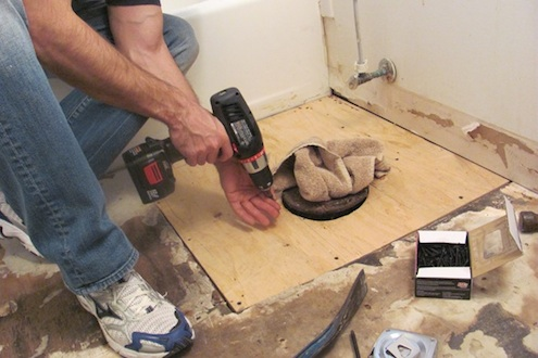 Plywood Patch Subflooring Installed Near Toilet. Photo: JProvey