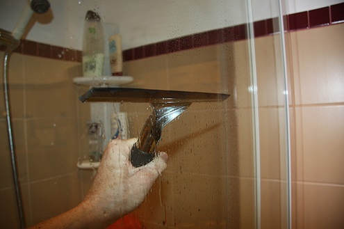 Clean Shower Doors - Squeegee
