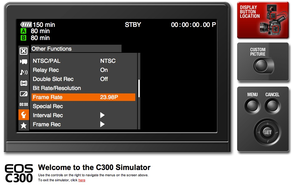 C300 Menu Simulator