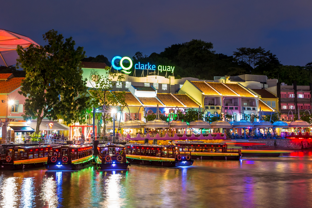 SINGAPORE-Colorful light building at night in Clarke Quay_247673455