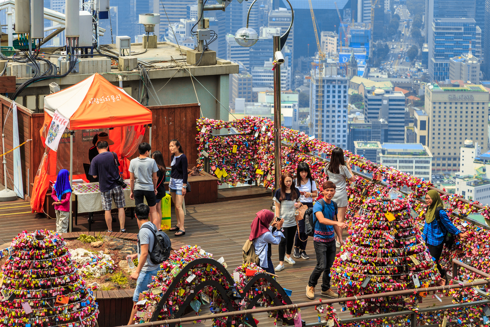 Padlock at N Seoul Tower Viewpoint_385527244