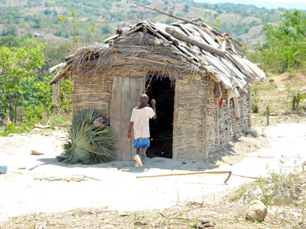 In the outlying villages, homes are often made of mud and sticks, with mud floors and thatched roofs. It's often the women and children who walk a few miles to get water each day.