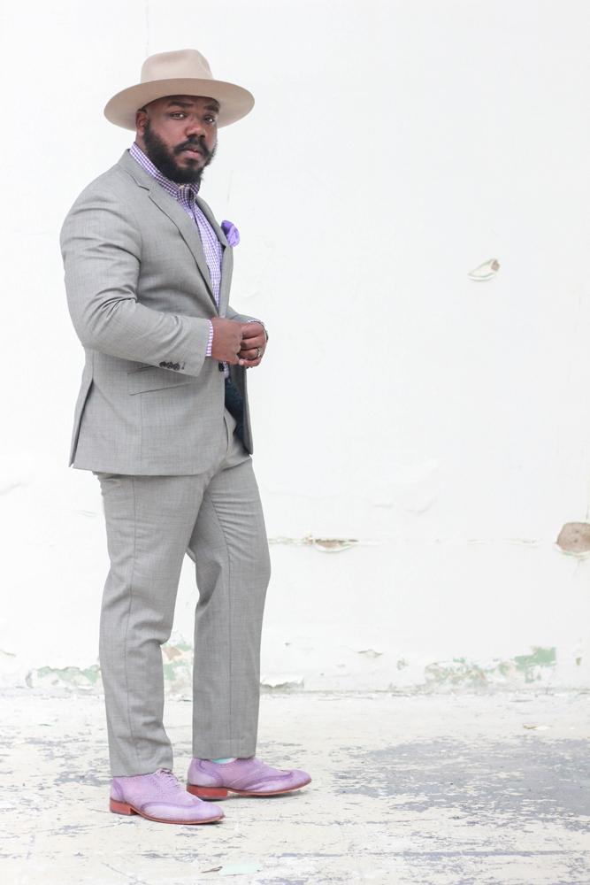 Kelvin Davis models a suit