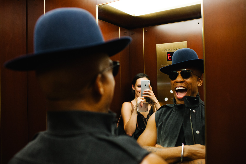 Vernon Francois in the elevator
