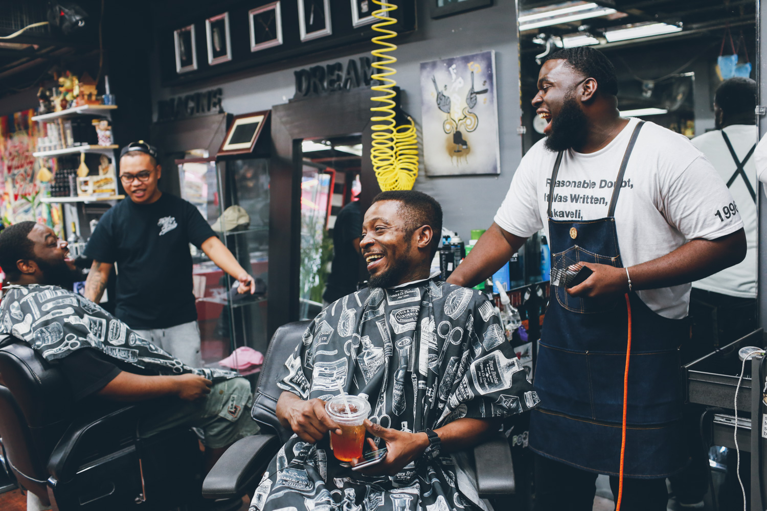 Jungle and Snacks getting their haircut in Filthy Rich Barbershop