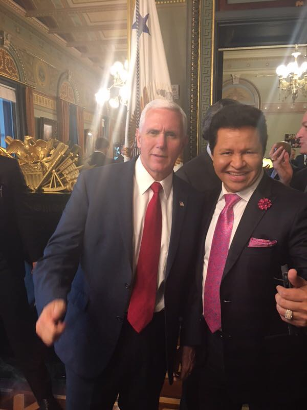 Apostle Maldonado with Vice President Mike Pence