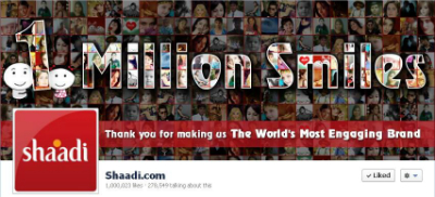 Shaadi.com Reaches 1 Million Page Likes
