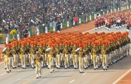 CISF marching contingent passes through the Rajpath during the 63rd Republic Day Parade-2012, in New Delhi on January 26, 2012.
