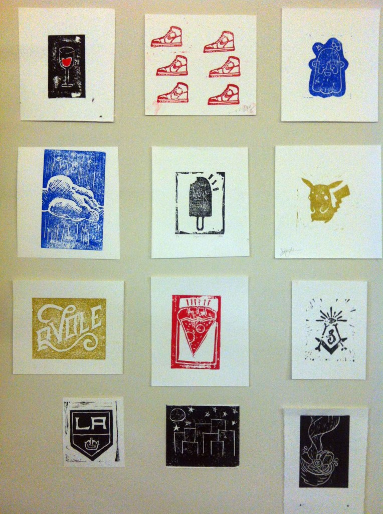 Column Five Linocut