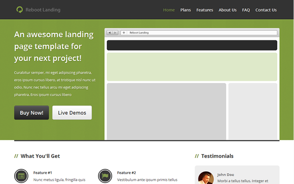 Reboot Landing Page Free Download