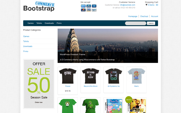 Bootstrap WooCommerce WordPress selling for $30.00